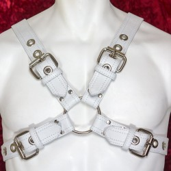 White Leather Buckled Harness